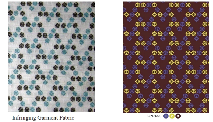 Successful copyright infringement for L.A. Printex (on right) against Aeropostale (on left)