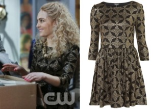 Carrie-Diaries-AnnaSophia-Black-and-Gold-Star-Dress-