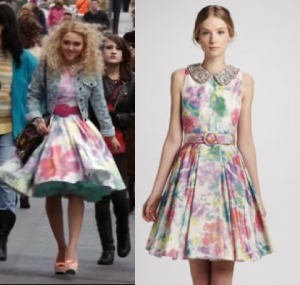 Carrie-Diaries-AnnaSophia-Floral-Pastel-Dress-with-Collar