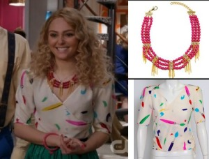 Carrie-Diaries-AnnaSophia-Pink-Neckace-and-Paintbrush-wrap-top
